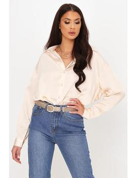 Beige Satin Longline Extreme Oversized Shirt by I Saw It First