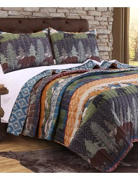 Black Bear Lodge Reversible Quilt Set by Greenland Home Fashions