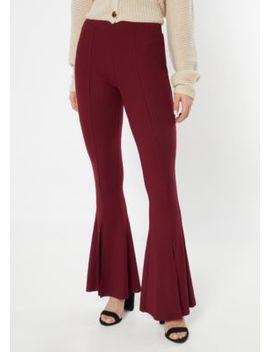 Burgundy Ribbed Knit Split Hem Flare Pants by Rue21