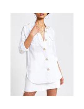 River Island Gold Button Detail Blouse   White by River Island