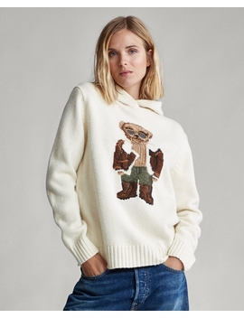 Aviator Polo Bear Knit Hoodie by Ralph Lauren
