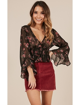 Crack Of Dawn Top In Black Floral by Showpo Fashion