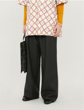Pinstriped Loose Fit Wide Wool Trousers by Gucci