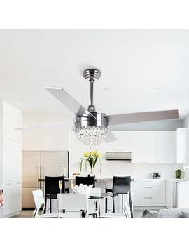 Modern 4 Blades 48 Inch Crystal Ceiling Fan With Remote by Parrot Uncle