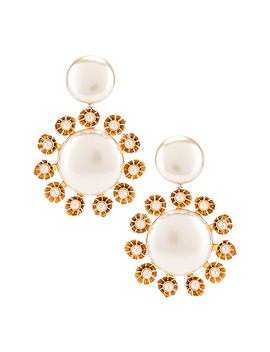 Round Plumeria Earrings by Lele Sadoughi