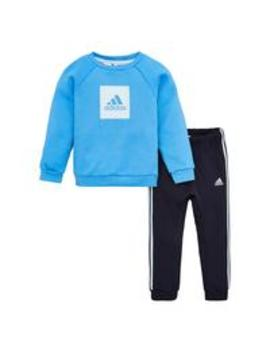 Infant 2 Piece 3 Stripe Logo Sweatshirt And Jogger Set   Blue by Adidas