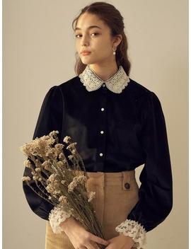 Velvet Lace Blouse Black by Monts