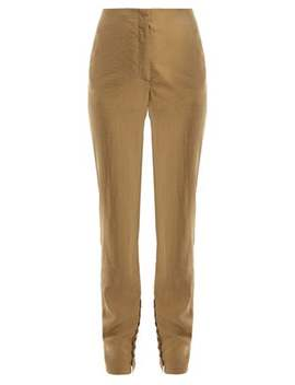 Silk Blend Buttoned Cuff Trousers by Lemaire