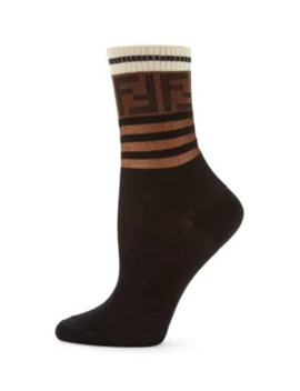 Logo Stripe Ankle Socks by Fendi