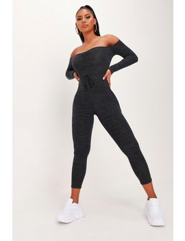 Charcoal Marl Ribbed Bardot Jumpsuit by I Saw It First