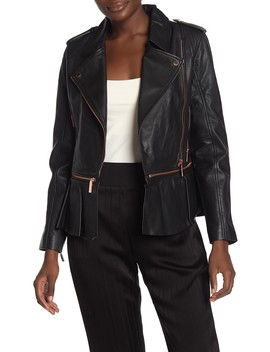 Leather Zip Off Peplum Jacket by Ted Baker London