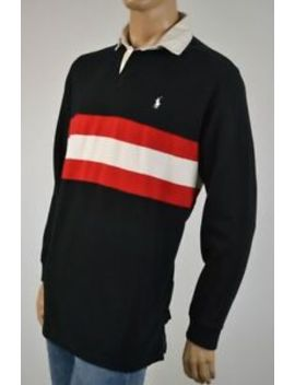 Ralph Lauren Black Red Stripe Rugby Sweatshirt White Pony Nwt by Polo Ralph Lauren