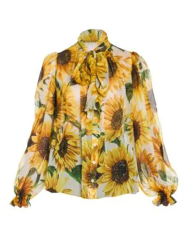 Sunflower Print Silk Bow Blouse by Dolce & Gabbana