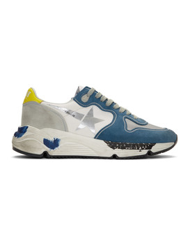 Blue & Grey Running Sole Sneakers by Golden Goose