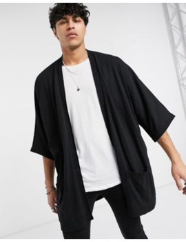 Asos Design Extreme Longline Knitted Kimono Jacket In Black by Asos Design