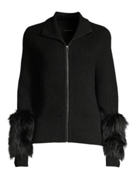 Norah Silver Fox Fur & Merino Wool Sweater by Elie Tahari