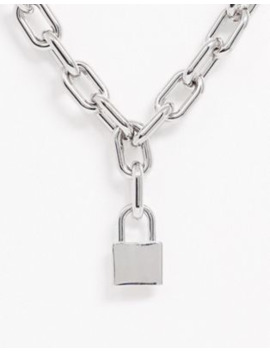 Uncommon Souls Chunky Neck Chain With Padlock Charm In Silver by Uncommon Souls