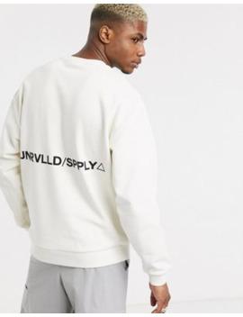 Asos Design   Oversized Sweatshirt Met Print In Wit by Asos Design
