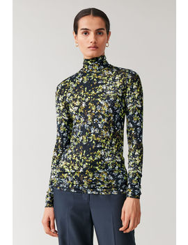 Printed Roll Neck Top by Cos