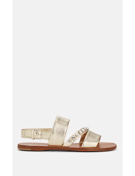 Crystal Embellished Leather Slingback Sandals by Miu Miu