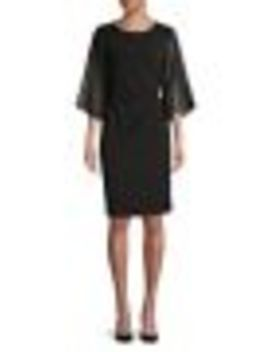 Sheer Sleeve Sheath Dress by Lori Michaels