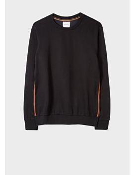 Men's Black 'artist Stripe' Trim Cotton Sweatshirt by Paul Smith