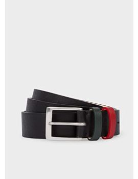 Men's Black Straw Grain Leather Double Keeper Belt by Paul Smith