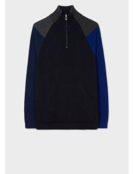 Men's Dark Navy Colour Block Half Zip Wool Blend Sweater by Paul Smith