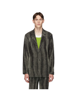 Black Mc June Network Check Blazer by Homme PlissÉ Issey Miyake