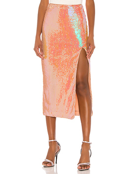 Brielle Midi Skirt In Opaline Peach by Song Of Style