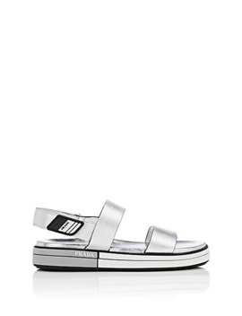 Leather Double Band Slingback Sandals by Prada