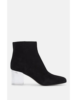 Pvc Heel Suede Ankle Boots by Miu Miu