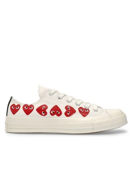 Play Comme Des Garçons Converse Multi Red Heart Chuck Taylor All Star '70 Low  (White) by Dover Street Market