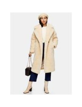 Borg Long Length Coat  Cream by Topshop