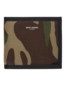 Green Camouflage Bifold Wallet by Saint Laurent