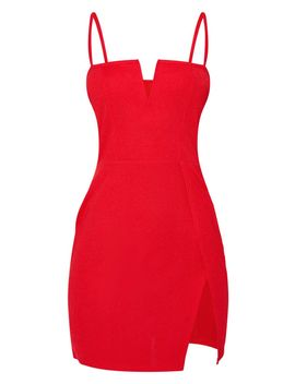 Red Extreme Thigh Split Panelled Plunge Bodycon Dress by Prettylittlething