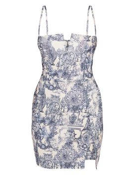 Blue Porcelain Print Extreme Thigh Split Panelled Plunge Bodycon Dress by Prettylittlething