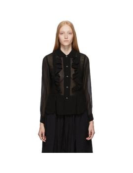 Black Ruffle Georgette Shirt by Comme Des GarÇons Comme Des GarÇons