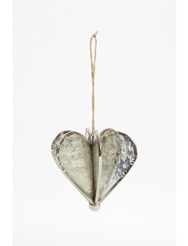Silver Helix Heart Ornament by French Connection