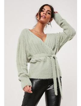Green Fluffly Wrap Knitted Jumper by Missguided