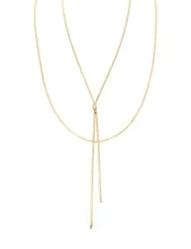 Blake 14 K Yellow Liquid Gold Duo Lariat Necklace by Lana Jewelry