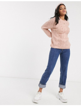Pimkie Cable Jumper In Pink by Pimkie
