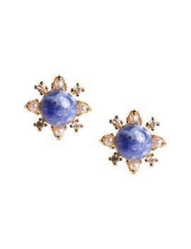 Delicate Pearl & Stone Stud Earrings by Banana Repbulic