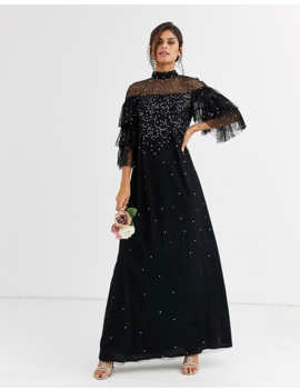 Maya Bridesmaid Delicate Sequin Tulle Maxi Dress In Black by Maya's