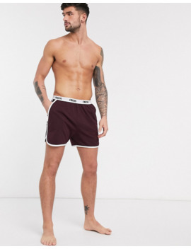 Asos Design Lounge Runner Short In Burgundy With Contrast Binding And Branded Waistband by Asos Design