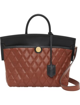 Small Society Quilted Leather Top Handle Tote by Burberry