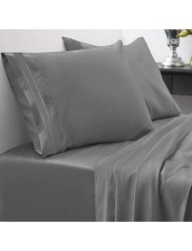1500 Thread Count Egyptian Quality Microfiber Deep Pocket Bedroom Sheet Set Sweet Home Collection Gray   Queen by Sweet Home Collection