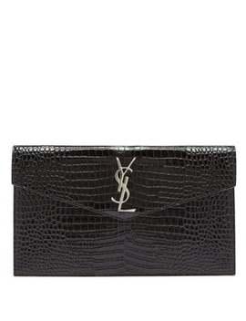 Uptown Crocodile Effect Leather Clutch Bag by Saint Laurent