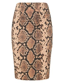 Tan Snake Print Rib Midi Skirt by Prettylittlething