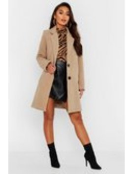 Petite Button Detail Camel Duster Coat Petite Button Detail Camel Duster Coat by Boohoo